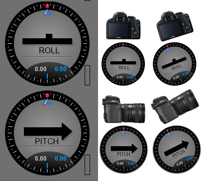 simpleBGC Roll and Pitch scopes meters sensor positions