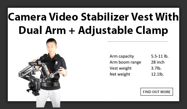 CAMETV 2.5-5kg Load Pro Camera Video Stabilizer Vest With Dual Arm + Adjustable Clamp