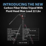 CAME-TV - New Product - Carbon Fiber Video Tripod With Fluid Head Max Load 22 Lbs