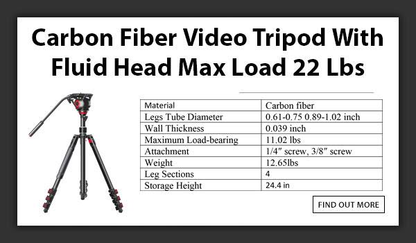 CAMETV Carbon Fiber Tripod Max Load 22lbs