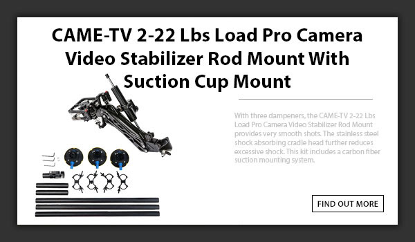 CAMETV 2-22 Lbs Load Pro Camera Video Stabilizer Rod Mount With Suction Cup Mount