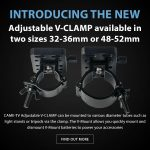 CAME-TV - New Product - Adjustable V-CLAMP available in two sizes 32-36mm or 48-52mm